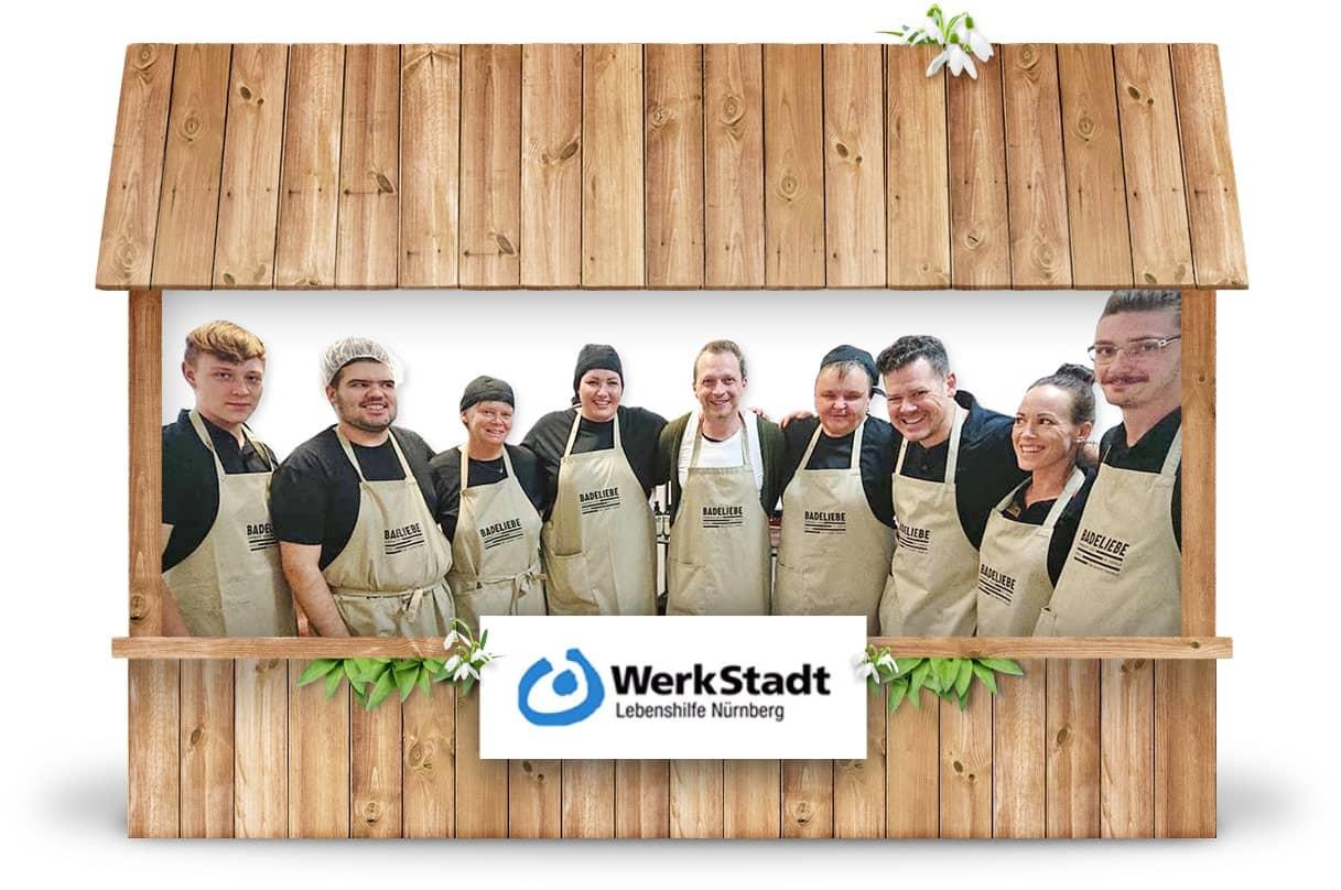 Alternativer Frühlingsmarkt Nürnberg und virtueller Online-Frühlingsmarkt von WerkStadt Lebenshilfe Nürnberg mit Seifen Badeliebe und Brotbackmischung im Glas Bottlebread bei Werky Behindertenwerkstatt kaufen