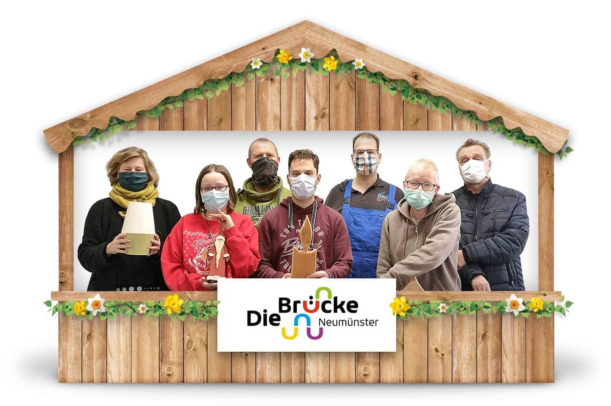 Alternativer Frühlingsmarkt Neumünster und virtueller Online-Frühlingsmarkt von Brücke Neumünster mit Mund-Nasen-Schutz, Papeterie, Besteck aus Holz bei Werky Behindertenwerkstatt kaufen