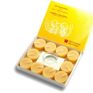 Bienenwachskerze - Bienenwachs Teelichter 10 Stück-Sozialtherapeutische Gemeinschaften Weckelweiler e.V.-werky