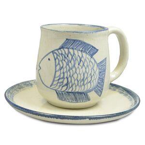 """Kleines Kinder-Gedeck aus Keramik """"Fisch"""", handgemacht-Greifenwerkstatt-werky"""