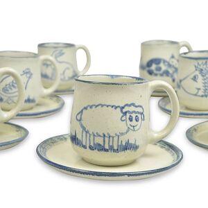 """Kleines Kinder-Gedeck aus Keramik """"Schaf"""", handgemacht-Greifenwerkstatt-werky"""