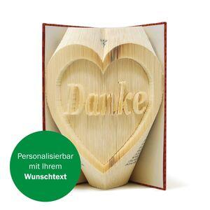 Kreative Buchkunst mit Ihrem Wunschtext im Herz-werky