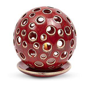 Leuchterkugel aus Keramik für Teelichter, 2-Loch-Muster-Greifenwerkstatt-werky