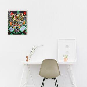 "Acryl-Malerei auf Leinwand ""Die Maske"", Unikat, 43 x 33 cm-Greifenwerkstatt-werky"