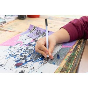 "Experimentelle Malerei auf Holz ""Jim"", Unikat, 20 x 24 cm-Greifenwerkstatt-werky"