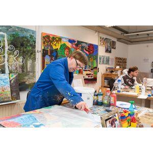 "Acryl-Malerei auf Holz ""Saritha"", Unikat, 77 x 39 cm-Greifenwerkstatt-werky"